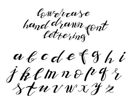 set di caratteri tipografici disegnati a mano, caratteri scritti a mano minuscoli e maiuscoli, alfabeto tipografico, isolato su sfondo bianco
