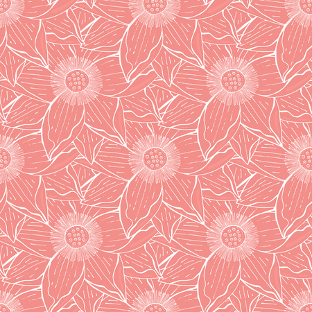 seamless floral pattern with the lotus pink flowers