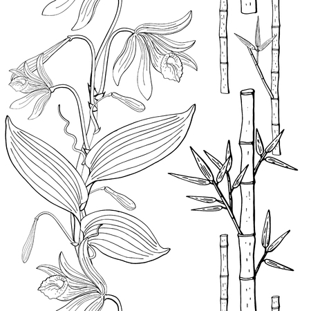 seamless brush from vanilla orchid flowers and bamboo, floral design element Banque d'images - 124518762