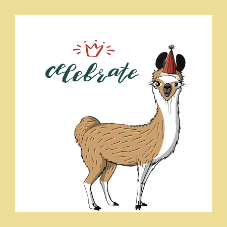 Cute Llama In Cone Birthday Hat Hand Lettering Celebrate Holiday Greeting Card Template