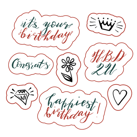 Hand lettering birthday wishes phrases set  isolated on white background. Handwritten text. Stock vector illustration.