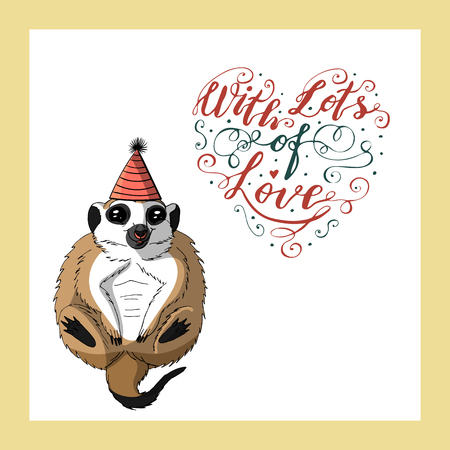 cute meerkat in cone birthday hat. hand lettering with lots of love. holiday greeting card template. isolated on white background. stock vector illustration.