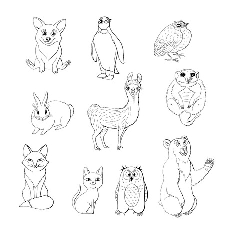 Set of cute animals isolated on white background.  red fox, owl, rabbit, meerkat, cat, corgi, bird, penguin and bear. black and white monochrome. stock vector illustration