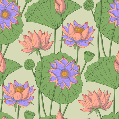 seamless floral pattern with lotus flowers on light green background