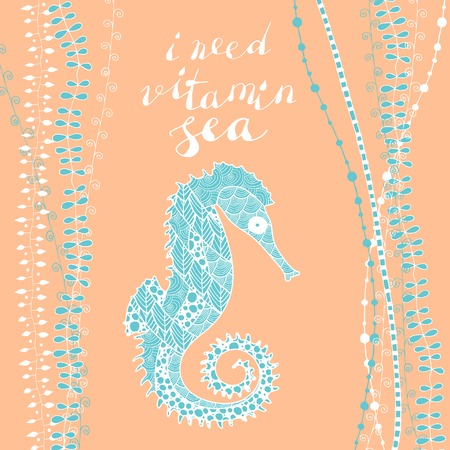 zen art style sea horse on pink background with handwritten lettering I need vitamin sea...