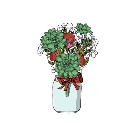 Hand drawn doodle style bouquets of different flowers: succulents; stock flower, sweet pea. isolated on white background. stock vector illustration