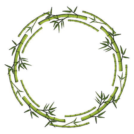 Wreath from a bamboo, floral round decoration border