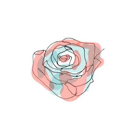 Hand drawn minimalistic rose flower, one single continuous black line simple drawing. isolated on white background. Stock vector illustration.