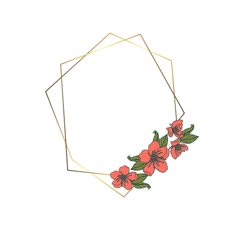 Polygonal garland, vintage geometric frame with pink cherry flowers decoration. isolated on white background. Stock vector illustration.