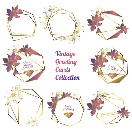 Botanical garland from lotus flowers, vintage floral wreath with golden polygonal frame
