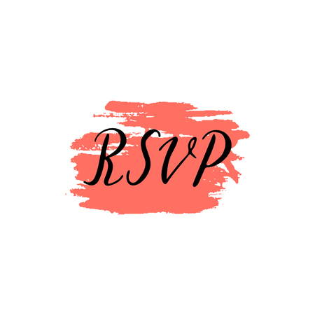 Custom hand  lettering word rsvp. Handwritten wedding, holiday greeting text on ink grungy blot.