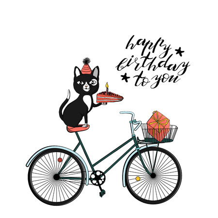 black cat in cone hat sitting on bicycle and holding piece of cake. hand lettering happy birthday to you. Vintage hipster bicycle with basket. isolated on white background. stock vector illustration.