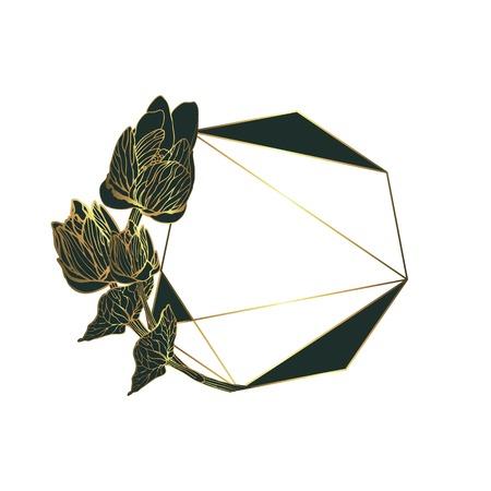 Botanical garland, vintage floral wreath with polygonal frame Ilustração