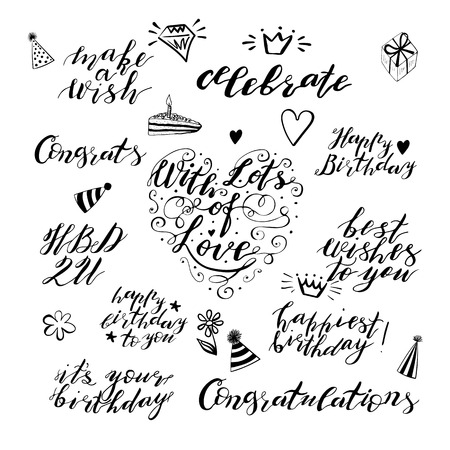 Hand lettering birthday wishes phrases set in black isolated on white background. Handwritten text. Stock vector illustration.