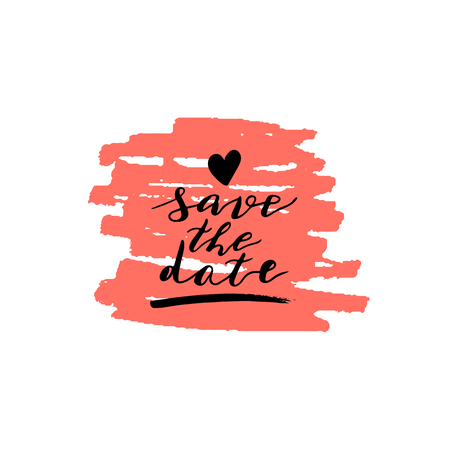 Custom hand lettering phrase save the date. Handwritten holiday greeting text on pink ink grungy blot. Vektorové ilustrace