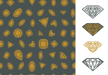 Set of golden seamless pattern with gem stones and diamonds on gray background and diamond icons