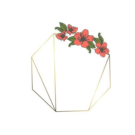 Polygonal garland, vintage geometric frame. isolated on white background.