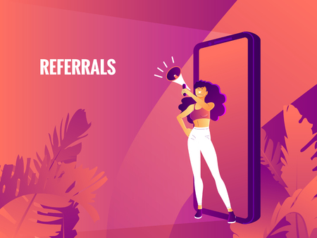 beautiful girl is holding megaphone, referrals text. referral marketing landing page concept.