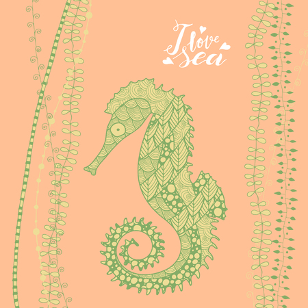 zen art style blue seahorse with handwritten lettering I love sea