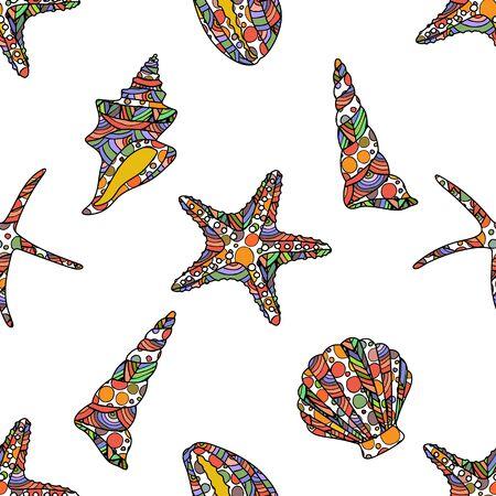 nahtlose Zen-Kunst-Stil-Muster mit Seesternen und Muscheln auf weißem Hintergrund. Aktienvektorillustration.