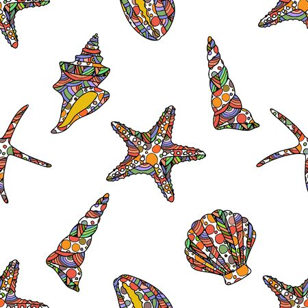 seamless zen art style pattern with starfish and conch shells on white background. stock vector illustration.