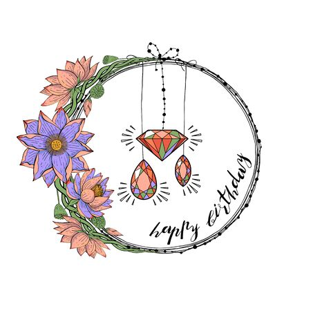 Greeting card with wreath from lotus flowers, diamond and gem stones, hand lettering happy birthday. Floral round decoration border, botanical design elements, stock vector illustration