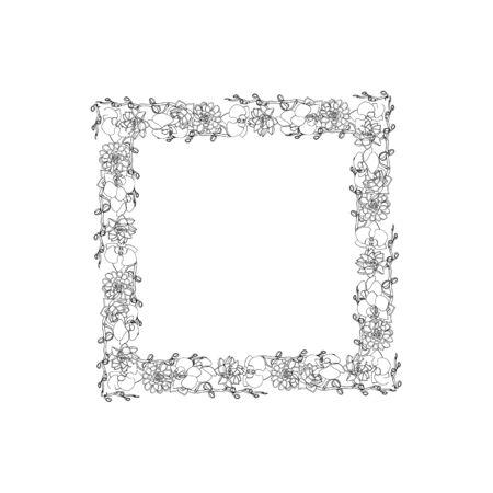 Handgezeichnete Doodle-Stil saftig und Orchidee blüht square.wreath. florales Design-Element. isoliert auf weißem Hintergrund. Vektorillustration auf Lager Vektorgrafik