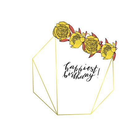 Hand drawn doodle style wreath with yellow peony flower polygonal garland, vintage geometric frame, floral design element. with custom hand lettering happiest birthday.