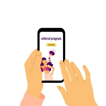Human hands holding smartphone with text referral program.