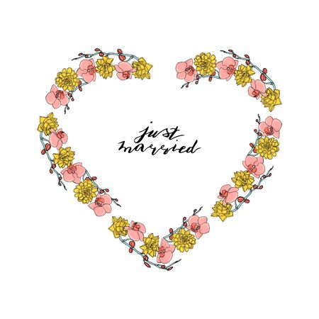 Hand drawn doodle style heart shaped wreath with custom hand lettering just married.. floral design element. isolated on white background. stock vector illustration