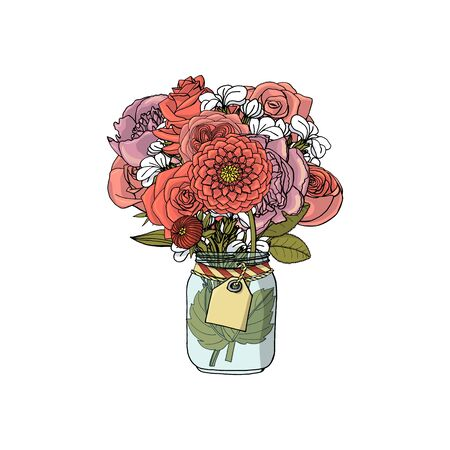 Hand drawn doodle style bouquets of different flowers:peony,rose,dahlia,stock flower. isolated on white background. stock vector illustration