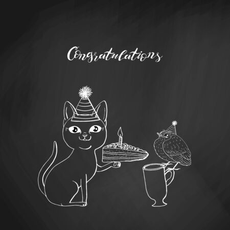 black cat in cone hat sitting and holding piece of cake. hand lettering congratulations. on chalkboard background. stock vector illustration. Illustration
