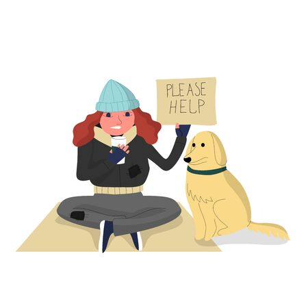 Homeless woman sitting on cardboard with a dog, holding paper cup to collect donations and cardboard with text please help. Isolated on white background. Flat style stock vector illustration.. Illustration