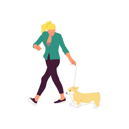 Young girl is walking with a corgi dog on a leash. Isolated on white background. Flat style cartoon stock vector illustration.. Иллюстрация
