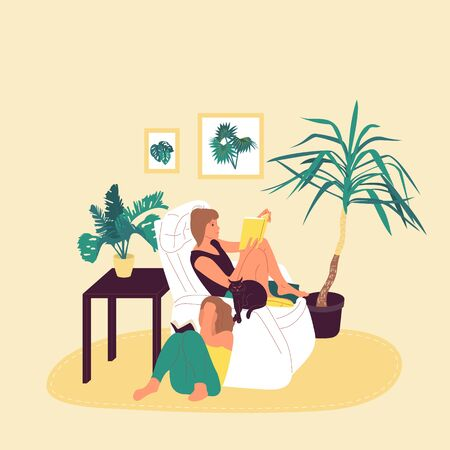 Two girls are sitting in armchair and reading book together in cosy room with potted tropical plants. Isolated on white background. Flat style cartoon stock vector illustration.. Illustration