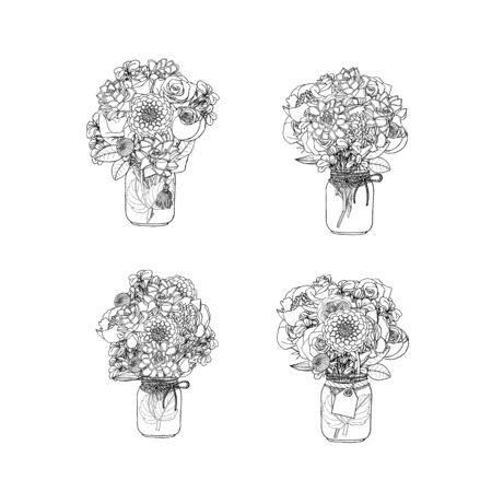 Hand drawn doodle style bouquets of different flowers, succulent, peony, rose, dahlia, stock flower, sweet pea. isolated on white background. stock vector illustration