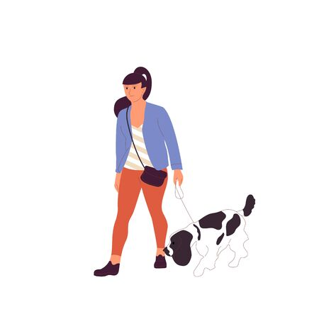 Young girl is walking with a french spanielsetter dog on a leash. Isolated on white background. Flat style cartoon stock vector illustration..