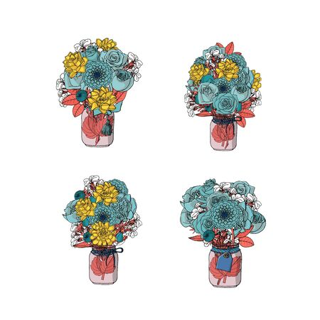 Hand drawn doodle style bouquets of different flowers isolated