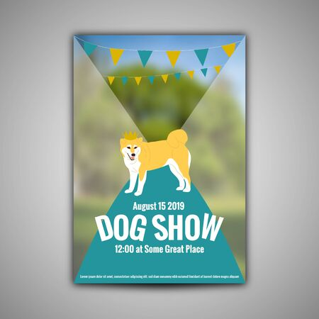 Poster template for dog show with shiba inu in golden crown. Flat style cartoon stock vector