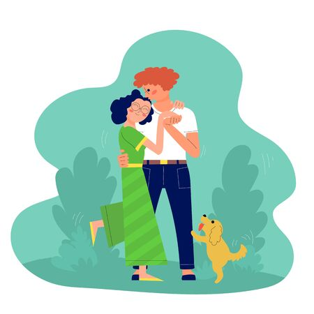 Young couple of man and woman is hugging and kissing outdoors, walking with their dog. Stock vector Ilustracja
