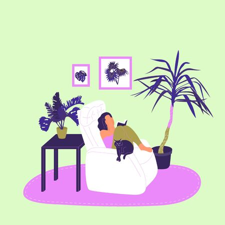 Girl is sitting in armchair and reading book with a cat in cosy room with potted tropical plants. Isolated on white background. Flat style cartoon stock vector illustration.. Illustration