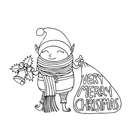 Black and white Cute funny cartoon character christmas elf with long scarf holding gift bag and handbell