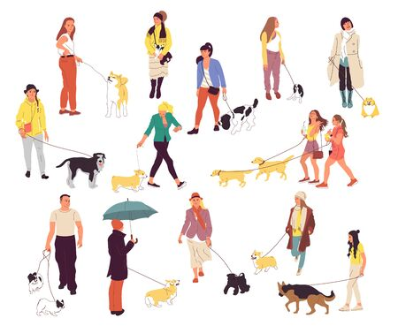 Set of many people walking with their dogs. Men and women outdoors with pets. Corgi, labrador, retriever, shepherd, spaniel, shiba inu, terrier, chihuahua. Isolated on white background. Flat cartoon 向量圖像