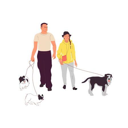 Pareja de hombre y niña están caminando con un perro terrier con una correa. Aislado sobre fondo blanco. Ilustración de vector stock de dibujos animados de estilo plano.