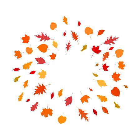 Round frame template with autumn leaves, copy space, stock vector illustration, isolated on white