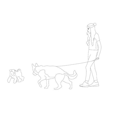 Young girl is walking with a german shepherd, dog on a leash. Isolated on white background. Flat style cartoon stock vector illustration..