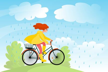 Beautiful girl in yellow raincoat rides bicycle in nature under rain, bike travel in park. Stock vector illustration. Çizim