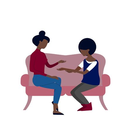 Black couple of two women are talking sitting on sofa. Flat style stock vector illustration