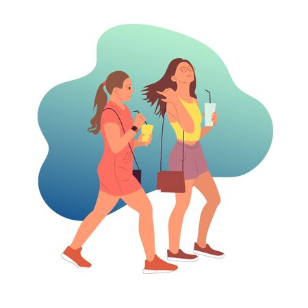 Two young girls characters in casual outfit walking with coffee cup in hand on blue background. Flat style colorful cartoon stock vector illustration..