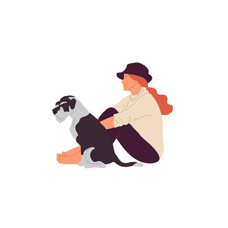 Girl is sitting with a terrier dog outdoors. Isolated on white background. Flat style cartoon